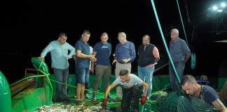 """Ayvalık Belediye Başkanı Mesut Ergin, Ayvalık'ta balık av sezonunun açılışına katıldı. Balıkçılar ile birlikte denize açıldı, ağ attı, bolluk ve bereket diledi. Avlanmaya çıkan teknelere gecenin ilerleyen saatlerinde meclis üyeleri Ali Jale, Merih Arslan ve Serdar Tuç ile birlikte eşlik eden Başkan Ergin tüm teknelere, """"Vira Bismillah"""" dedi."""