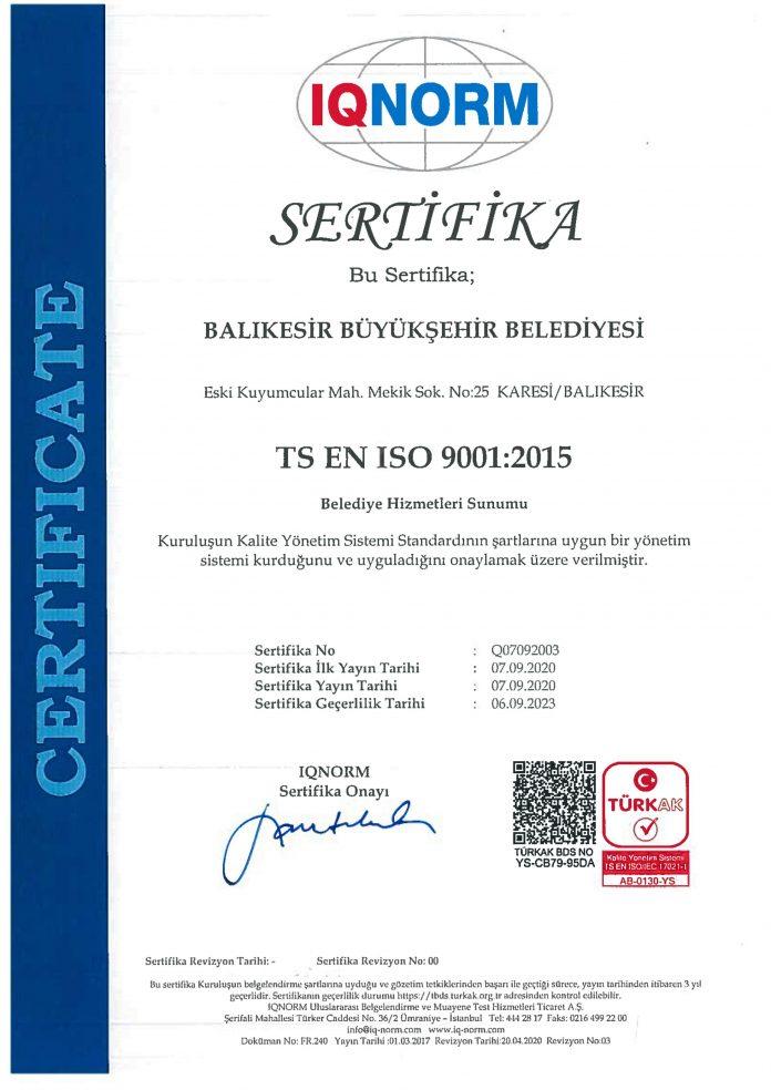 İlk kez 2016 yılında ISO 9001 kalite belgesiyle tanışan Balıkesir Büyükşehir Belediyesi, Başkan Yücel Yılmaz'ın talimatıyla ISO 9001 kalite belgesinin yenilenmesi adına yürüttüğü çalışmalar doğrultusunda, belgenin güncel versiyonuna uygun yapılanarak yeniden almaya hak kazandı.